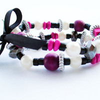 FREE SHIPPING PINK  Fashion stack bracelet,handmade jewelry, wood bracelet