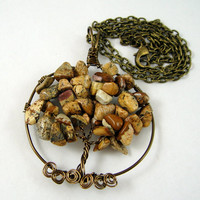 Tree of Life Pendant Necklace Picture Jasper Gemstone Chips