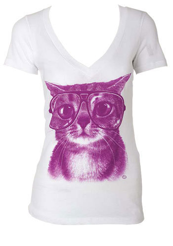 Alloy > Cat With Glasses > tops > graphic tees
