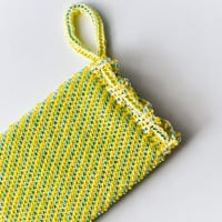 Knitted beaded blue and yellow cell phone bag -Beaded sparkling iphone case -  Crochet iphone case
