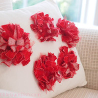 Shabby Chic Red Flower Pillow White Throw Pillow 12 x 16