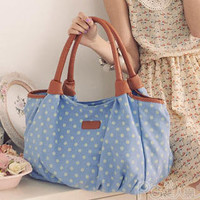 YESSTYLE: PG Beauty- Dotted Canvas Tote (Blue - One Size)