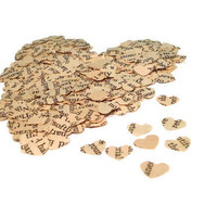 Heart Confetti - 500 Hearts Punched from Vintage Paper