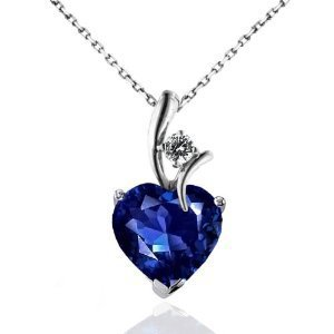 "2.30 Carat Blue & White Sapphire Heart Pendant in Sterling Silver with 18"" Chain: Jewelry: Amazon.com"
