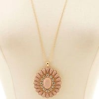 Faceted Stone Flower Pendant Necklace by Charlotte Russe - Gold