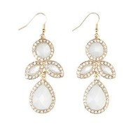 Rhinestone-Trimmed Gem Earrings by Charlotte Russe - Gold