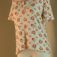 Vintage orange and white floral shirt