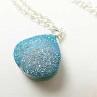 Druzy Jewelry - Druzy Stone Necklace - Light Blue - Sterling Silver Necklace - Drusy