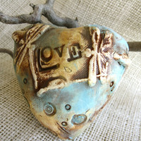 "Heart Shaped Rattle with Dragonflies and Saying ""LOVE"" - Ceramic, gift under 40"