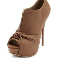 Knot Front Leatherette Bootie: Charlotte Russe
