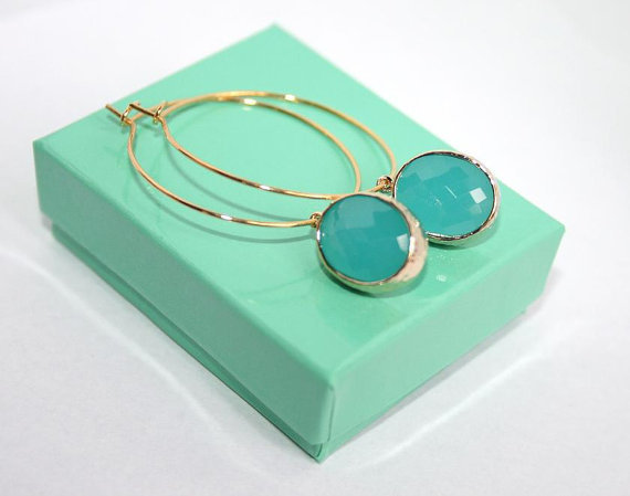 Mint Blue Oval glass drop on Golden Hoop Earrings, Summer Mint Opal hoop Earrings, Gift to Girlfriend, Sister, Daughter