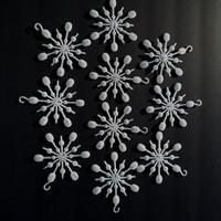 10 Vintage White Glitter Snowflakes Christmas Ornaments Holiday Decor Glitter Sparkle Home Decor