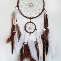 Double Dreamcatcher: White and Brown - &quot;Her Hand Around My Waist&quot;