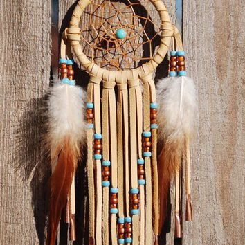 3 Inch Golden Deerhide Dreamcatcher-Turquoise and Copper
