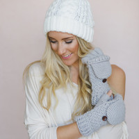 Convertible Gloves, Mittens, GRAY, Knitted Fingerless Flip Down Mittens, Button Closure Fashion Accessories for Women