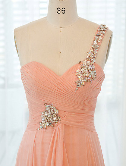 Peach toga romantic wedding gown / prom dress / bridesmaid dress