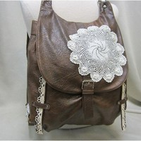 H1 Distressed leather look lace backpack handbag
