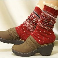 SK204 snowflake pattern ski socks red