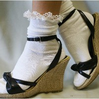 RX10 cotton anklet w/shell lace white