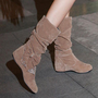 YESSTYLE: Grace Candy- Bow-Accent Shirred Boots (Camel - 36) - Free International Shipping on orders over $150
