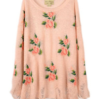 Floral Printed Pink Irregular Sweater