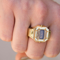 Vintage Gold Tone Digital Ring Watch DEADSTOCK/ New Old Stock Never Worn