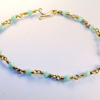 MINT GOLD BRACELET / wire-wrapped bracelet ft. mint green swarovski crystals, handmade clasp, 14k gold wire