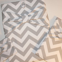 Trio of Cases -  MacBook, iPad and Cosmetic Cases - Gray & White Chevron with Bow - Padded