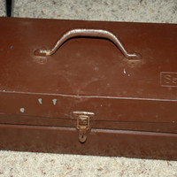 Vintage Sears Metal Tool Box with Tray