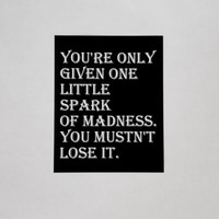 Little Spark Of Madness Typography Print. 8x10 Art Print. Home Decor