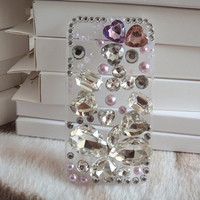 deco finished handmade decoden bling crystal kawaii iphone 4 4s case. the pink rose case.pink case. gyaru rhinestone diamante jewelry.