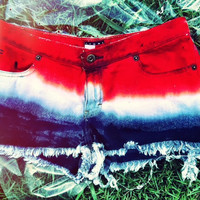 SALE: Red White Blue Ombre Shorts