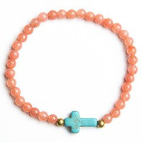 Cross with Peach Beads