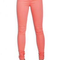 Coral Bold Color Denim Skinny Fit Jeggings