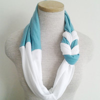 Turquoise and White Half Braided Knot Jersey Tee Scarf