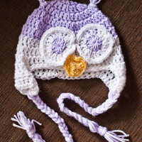 Baby Infant Toddler Lavender and White Owl Hat - Photography Prop