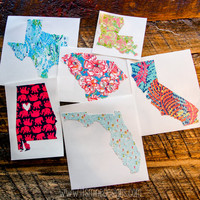 Lilly Pulitzer State Decal or Sticker -  Any State - Texas, California, Florida, Georgia, Alabama, etc. Heart over your Hometown