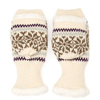 FOREVER 21 Faux Shearling Convertible Gloves Cream/Multi One