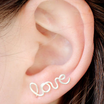 Love Earring, Sterling Silver Plated Love Stud Earring, Cartilage, Single, Word, Handwritten, Cursive, Affirmation, Ear Cuff