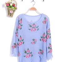 Purple Rose Flowers Print Ripped Distressed Long Sleeve Jumper$39.00