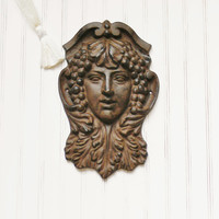 Woman's Face Wall Hanging,Face Wall Hanging, Goddess Wall Hanging, Face Sculpture, Cast Iron Wall Hanging, Goddess Face Wall Hanging