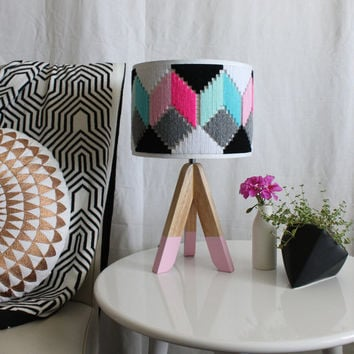 Colourful hand woven round Lampshade - Geo Series in Duo