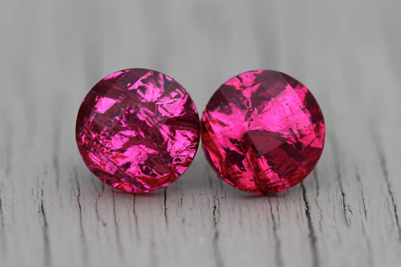 Crystal Stud Earrings : Hot Fuchsia Pink Metallic Faceted Stud Earrings, Simple, Minimal, Neon, Bright, Foiled