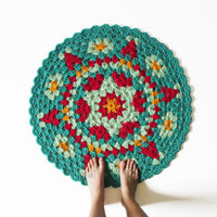Round Crochet Mandala Rug - One of a Kind Jade Colorful Rug Mat with Scallop Edge