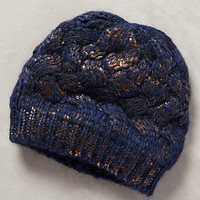 Glinted Beanie by Anthropologie Blue One Size Scarves