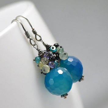 silver agate apatite & black spinel cluster earrings