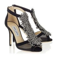 Black Suede and Mesh Sandals with Beaded Detail   Feline   Autumn Winter 14   JIMMY CHOO Shoes