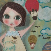 Up Up And AWAY 5x7 ART CARD Print on Luulla