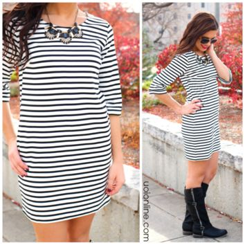 The Stripe is Right Dress - IVORY /