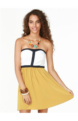 A&#x27;GACI Contrast Colorblock Flare Dress - Dresses